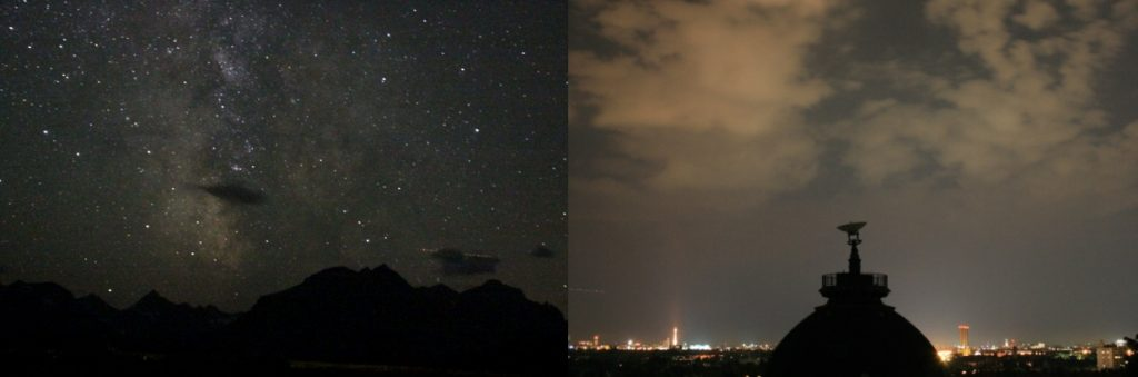 Night sky with and without sky glow