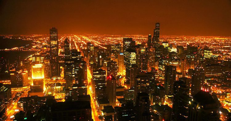 Light pollution from artificial light causing sky glow in cities
